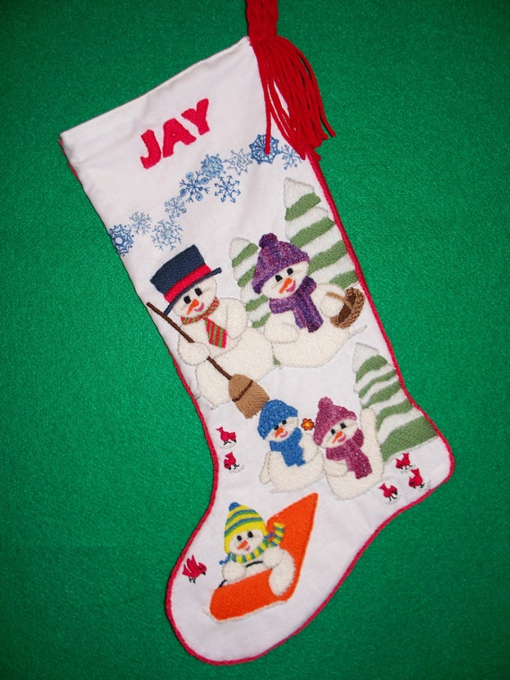 Left Facing Christmas Stocking Kit Crewel Embroidery
