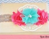 Baby Headband, Watermelon and Aqua, Toddler Headband, Flower Headband, Newborn Headband, Infant Headband, Newborn Photo Prop
