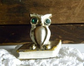Vintage Owl with Book Brooch / Pin - Emerald and Clear Rhinestones