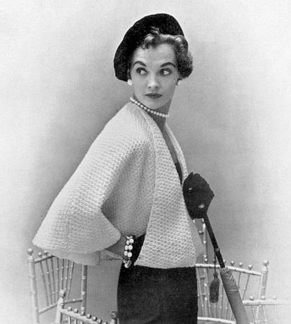 Free Vintage Knitting Patterns 1950s : INSTANT PDF Vintage Knitting Pattern Unique Ladies Cape Jacket