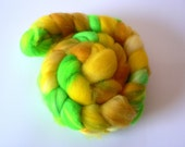 SALE Handpainted Superwash Merino Roving- Lemon Lime 4 oz