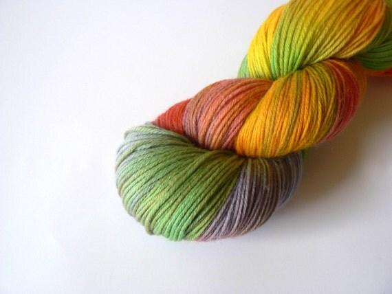 Handpainted Fingering Weight Superwash Merino Nylon Sock Yarn- Merry-Go-Round 462 yards
