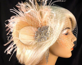 New Rock On  - Bridal Feather Fascinator, Bridal Headpiece, Wedding Veil, Wedding Fascinator, Feather Fascinator, Ivory and Blush, Customize