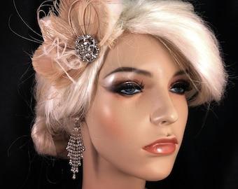 Bridal Fascinator, Bridal Hair Fascinator, Feather Fascinator, Wedding Headpiece, Bridal Hair Accessory, Wedding Hair Fascinator, Ivory