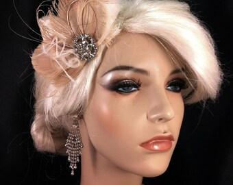 Fascinator, Wedding Head Piece, Bridal Hair Clip, Bridal Headpiece, Great Gatsby Headpiece, Wedding Hair Clip, Ivory Champagne Fascinator