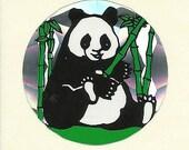 Vintage 80's Prism Panda Bear Bamboo Sticker