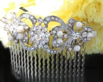 vintage inspired pearls bridal hair comb,wedding hair comb,bridal hair accessories,wedding hair accessories,pearl hair comb,crystal comb
