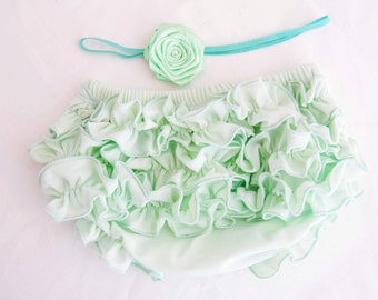 Baby Bloomers  Baby Bloomers Mint With Cute Ruffle in Set With Mint Rose Headband