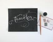 5x7 Calligraphy Traveler Print