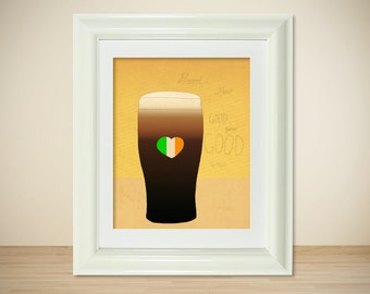Beer Guinness Irish St Patricks Kitchen Decor Art Print // Good // Typography Food Wall Art Bar Art Happy Hour