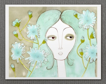 Chicory Girl No.2 // Giclee, Reproduction, Spring Flowers Illustration, Digital Print, Girl Portrait, Aqua, Teal, Mint