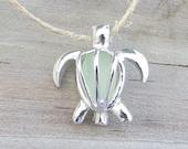 Sea Glass Turtle Locket Mint Green Pale  Aqua by Wave of Life™