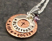 Hand Stamped Mother's Necklace - Personalized with Two (2) or Three (3) Kids Names - Eternity Circle with Saying - For Mom