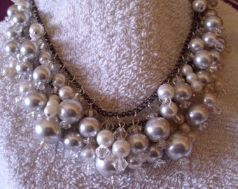 Victorian style double strand silver acrylic pearl and crystal seed bead beaded bridal necklace