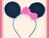 Mini Mouse Ear Headband with Pink Bow- Pattern