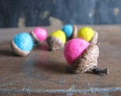 Felted acorns, set of 6, Summer Brights, hot pink, turquoise, bright yellow felt acorns, Easter basket gift, waldorf gift, summer home decor
