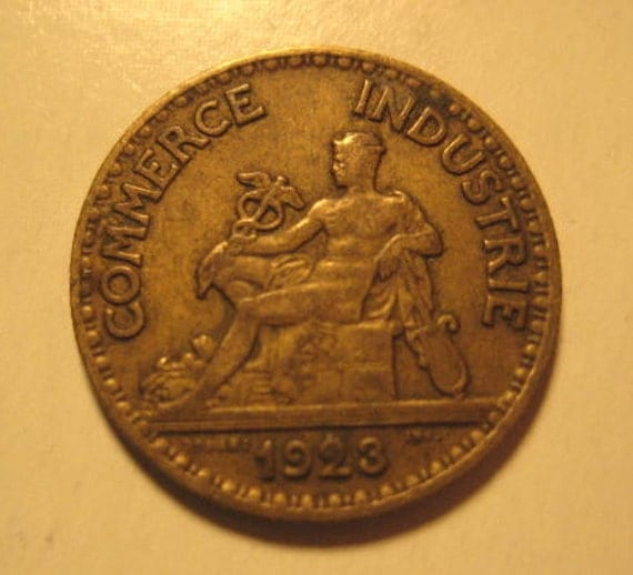 1923 French Coin, Bon Pour, 50 Centimes, Chamber of Commerce