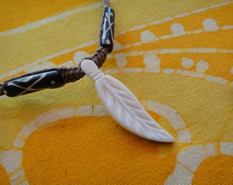 Carved Feather African Batik Bone Beaded Hemp Necklace / Choker
