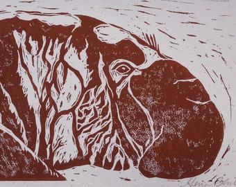 Elephant Seal, Hand-printed Notecard
