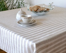 Striped Tablecloths, Linen Tablecloth, Natural And White Stripes Tablecloth, Eco Friendly Table Decor