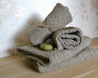 ORGANIC Linen Towels  Set of 3 Massage Towels Undyed Rustic Natural Pre-washed Wafer Towels