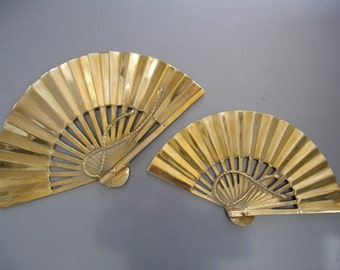Pair of vintage Brass Fan Wall Decorations