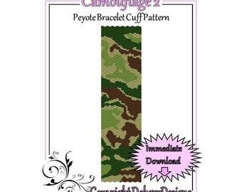Bead Pattern Peyote(Bracelet Cuff)-Camouflage 2