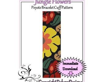 Bead Pattern Peyote(Bracelet Cuff)-Jungle Flower