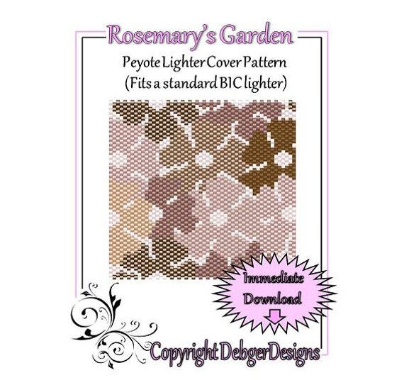 Bead Pattern Peyote(Lighter Cover)-Rosemarys Garden