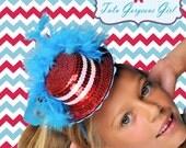 Dr Seuss Mini Top Hat...Red, White, Turquoise...Headpiece, Fascinator...Halloween, Dance Recital, Photo Prop . . .  MAD ABOUT SEUSS