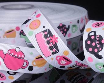 "Teapot Cupcake  Printed Grosgrain Ribbon  / 7/8"" (22mm) width /DIY Hair Bow / Head Band/Craft Supplies/Kids crafts"