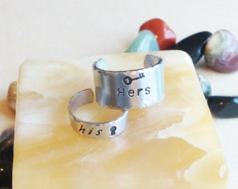 Stamped Metal Ring Band- Custom Hand Stamped Ring Band - Personalized Adjustable Ring  - Your Name, Quote - His and Hers Keyhole and Key