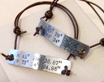 Longitude Latitude Bracelets - Hand Stamped Longitude Latitude Bracelets - Custom ID Bracelets - Personalized Stamped Bracelets