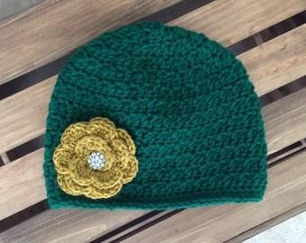 Bling Green Bay Packers Crochet Beanie Hat for Women and Children
