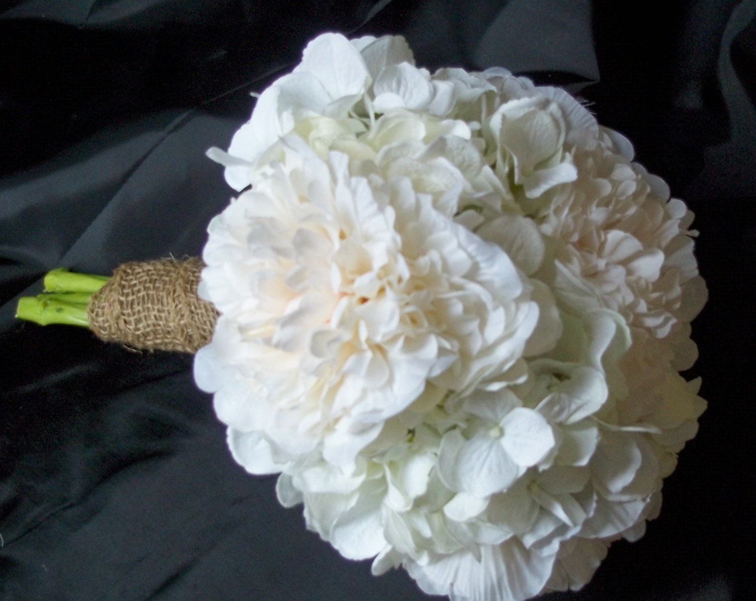 White Hydrangea And White Peony Bridal Bouquet By