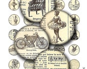 1 inch round images Printable Download Digital Collage Sheet 1 inch circle vintage french dictionary images