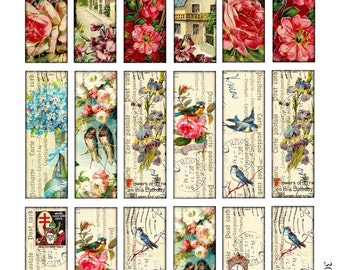 1 x 3 inch tiles microscope slide images Printable Download Digital Collage Sheet bird flower pendant altered art jewelry