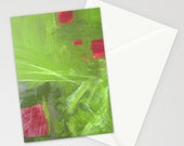 set of 10 BLANK GREETiNG CARDS - abstract painting - modern art - red green - rose garden - contemporary