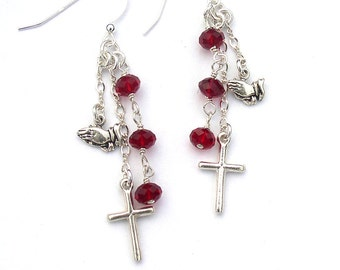 Cross Earrings Praying Hands Sterling Silver Christian Jewelry