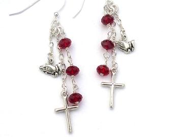 Cross Earrings Sterling Silver Christian Jewelry Praying Hands