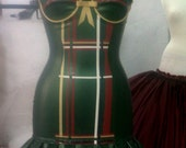 Rubber Latex Mini Dress With Built-In Underwired Cups, Tartan Panel, Contrast Trims, Double Ruffle And Back Zip