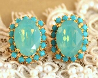 Mint Opal earrings, Turquoise green mint stud Crystal big oval earring - 14k plated gold post earrings real swarovski rhinestones