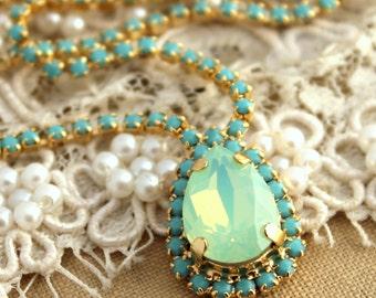 Mint Necklace,Mint Swarovski Crystal Necklace,Mint Opal Swarovski Necklace,Turquoise Necklace,Bridal Mint Necklace,Bridal Crystal Necklace