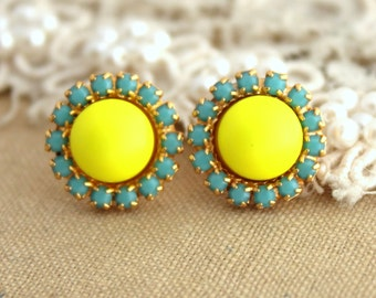 Yellow Neon and Turquoise, neon jewelry, trendy jewelry, Swarovski stud earrings- 14 k plated gold post earrings real swarovski pearls.