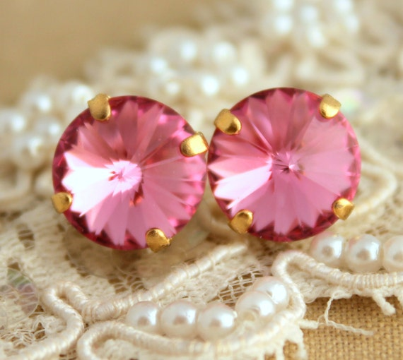 Pink Stud earrings, Pink stud Swarovski earrings, Bridesmaids jewelry, Pink earrings, Everyday earrings, Gift for woman, Pink crystal studs