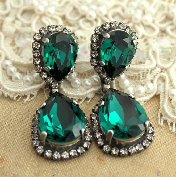 Emerald Chandelier EarringsEmerald Statement EarringsEmerald