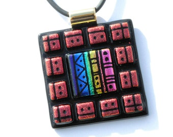 Mosaic Etchings - LARGE Dichroic Glass Pendant Necklace, Fused Glass - Wearable Art, Southwestern, Aztec, Tribal, Rainbow (Item 10539-P)