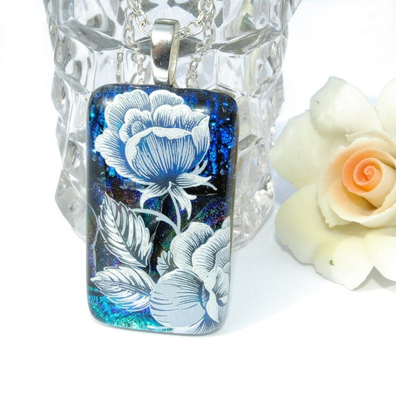 Rose, Dichroic Glass Pendant, Fused Glass Jewelry, Flower, Floral, Spring, Garden, Nature, Blue (Item 10061-P)