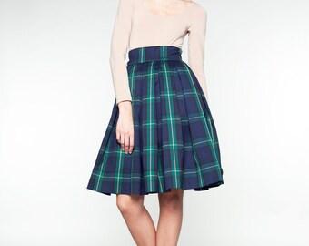High waist skirt Navy pleated skirt Skirt with pockets Knee length skirt Plus size skirt Navy plaid skirt 1950s skirt 50s skirt Retro skirt