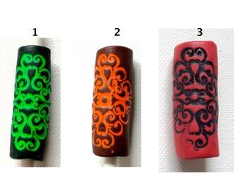 choose color:  black light mandala dread bead tube